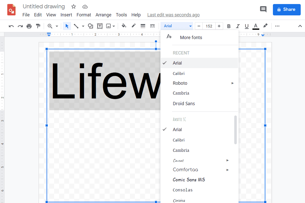 Screenshot of text options in Google Drawings