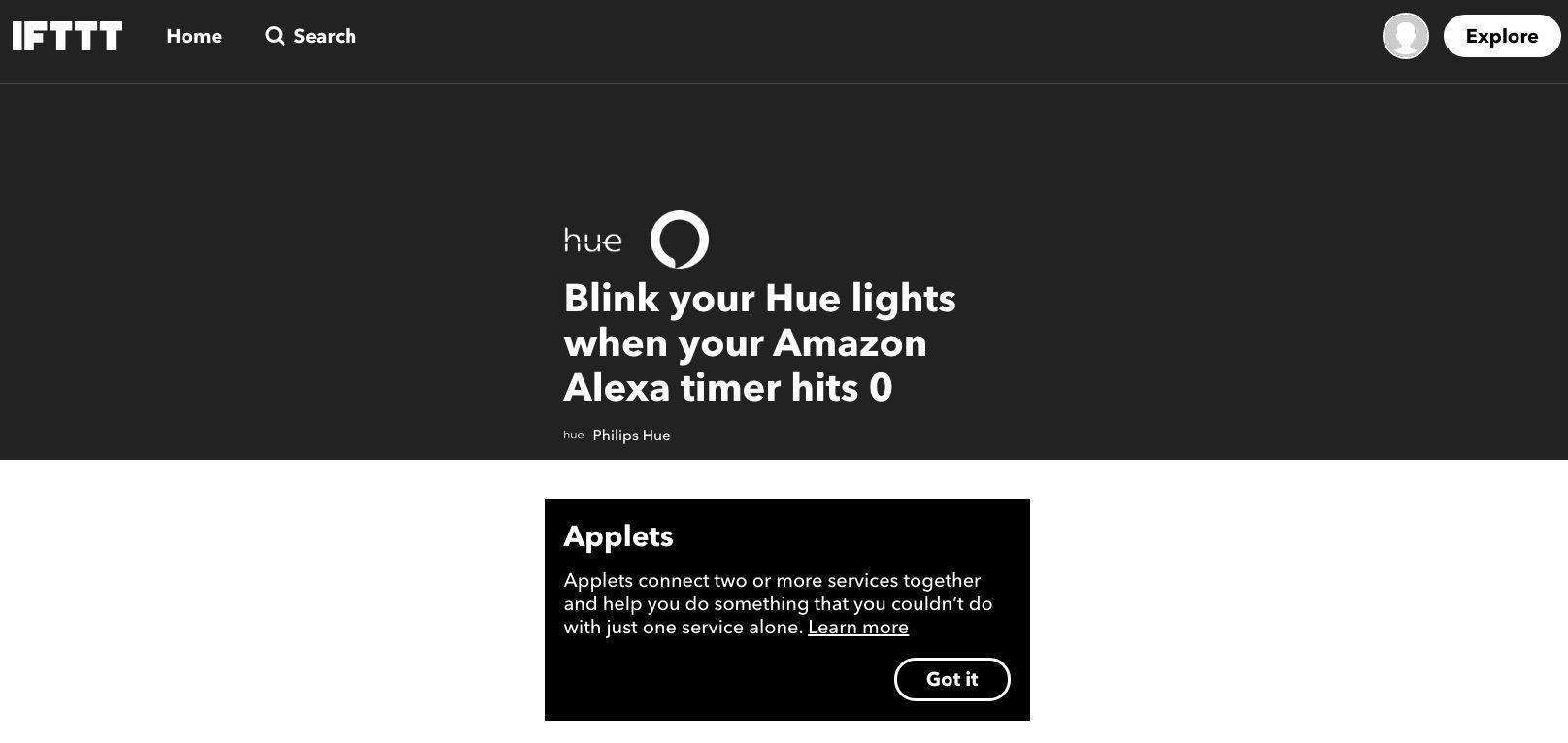 Screenshot of IFTTT app that blinks lights when timer goes off