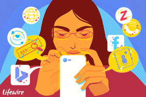Illustration of a woman looking for a phone number on social media sites and search engines online.