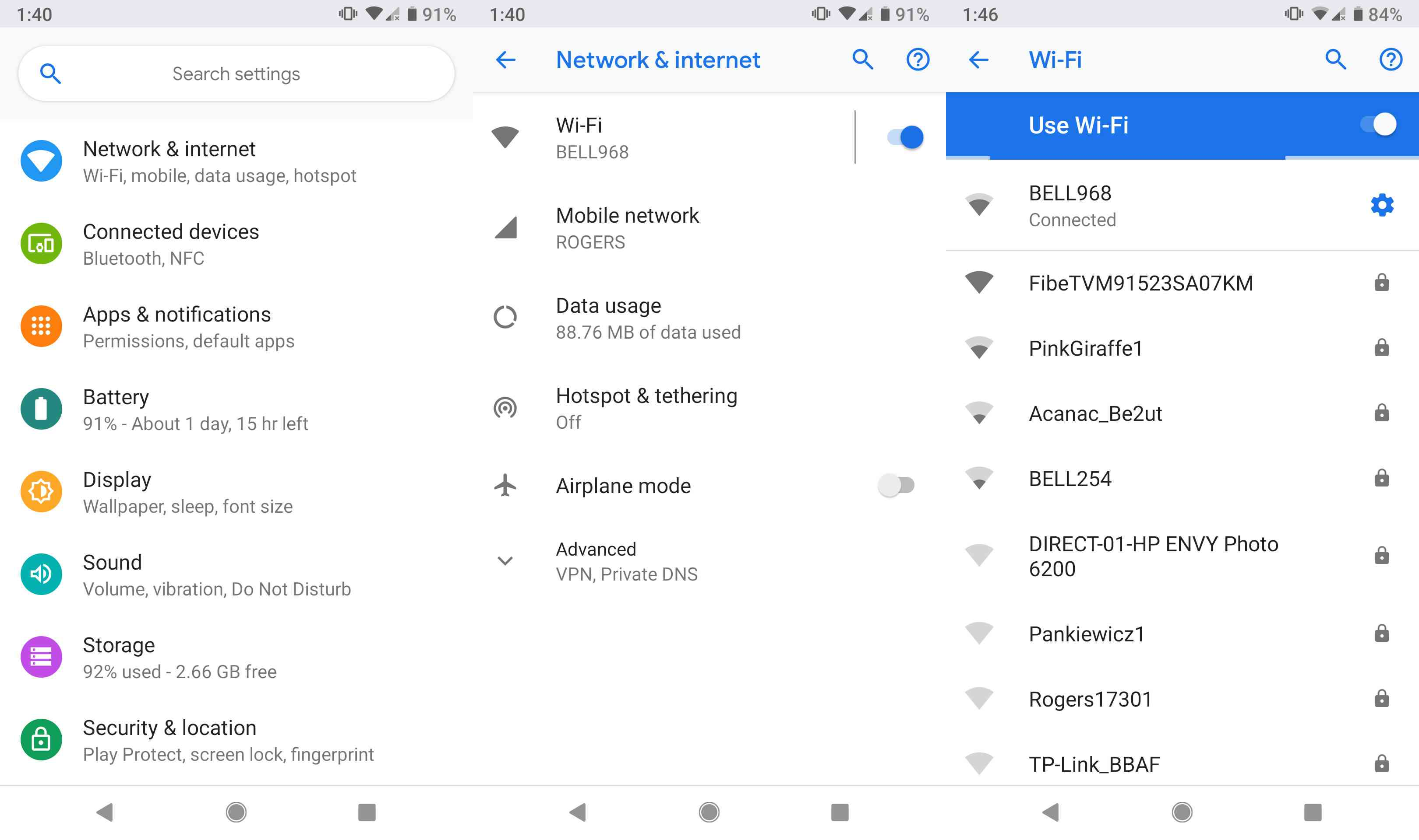 A screenshot showing a list of available Wi-Fi networks.