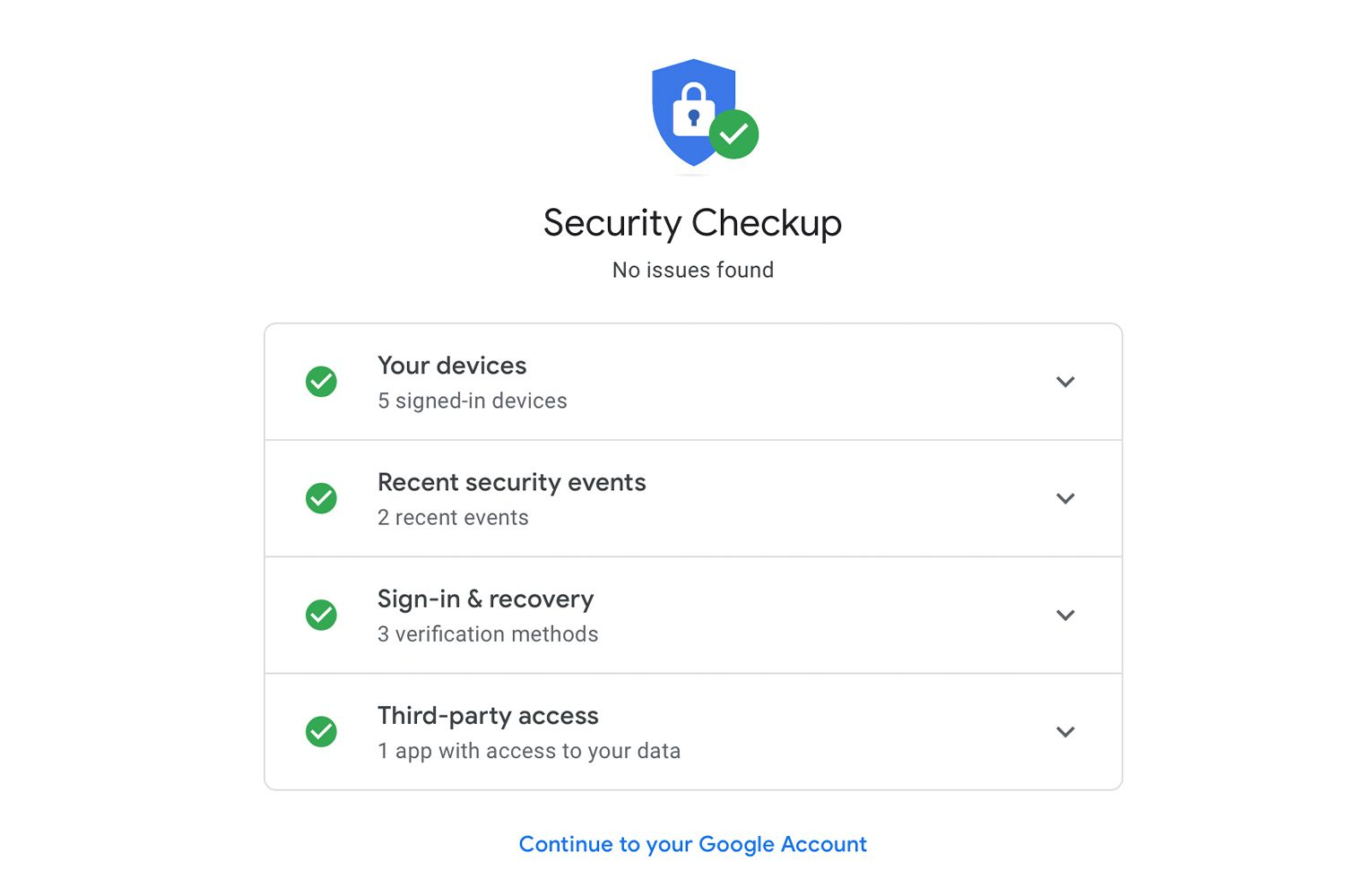 A Security Checkup that reports no issues found