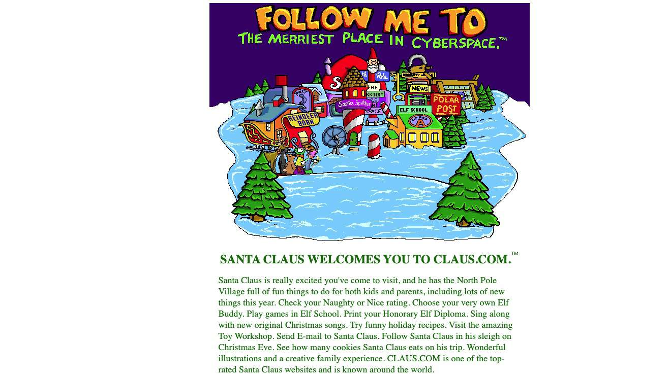 Claus.com Santa activity website