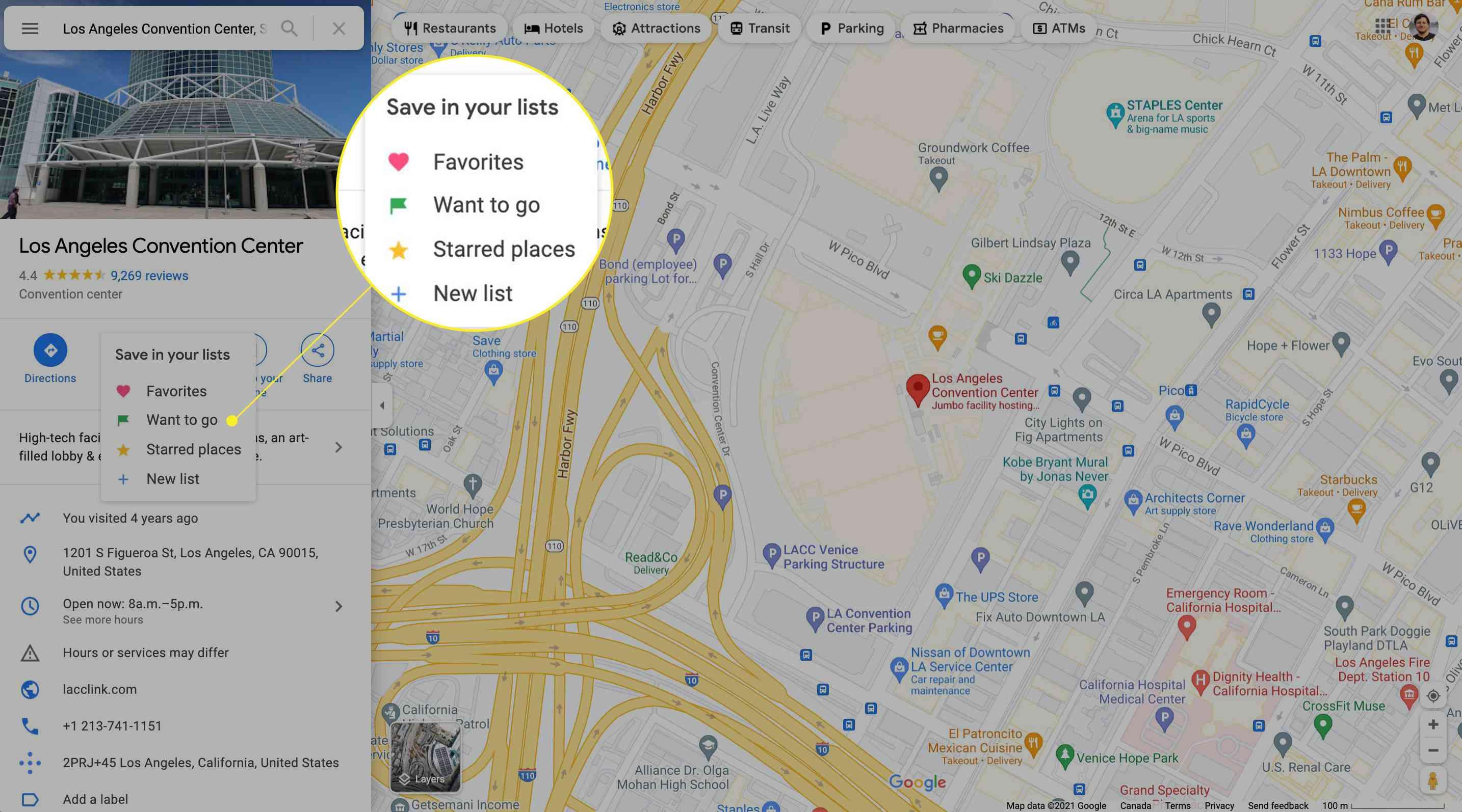 Selecting a Saved list on Google Maps for desktop.