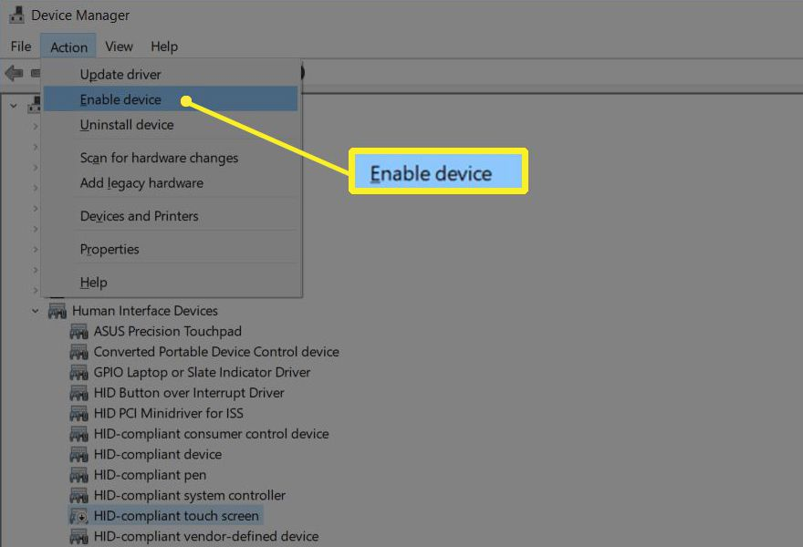 Enable device in Device Manager