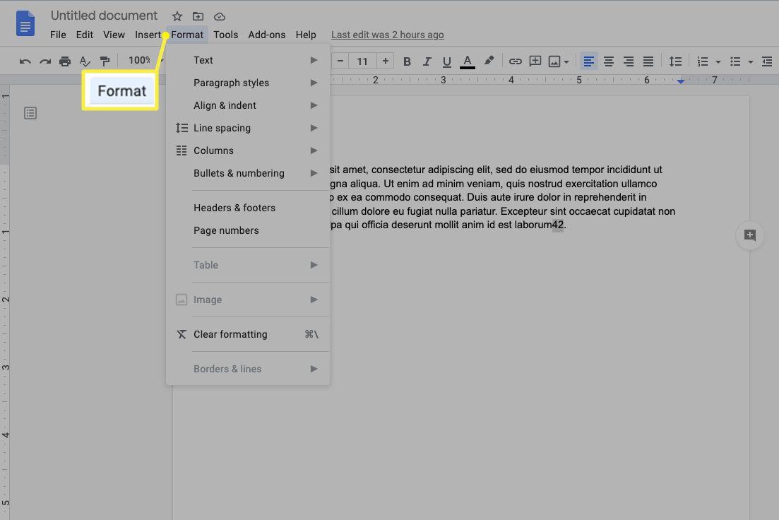 Format in menu bar
