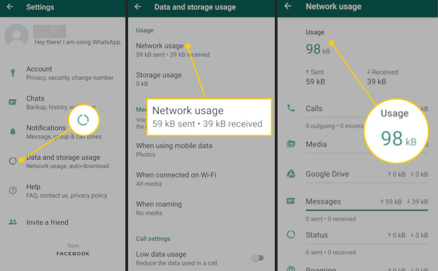 Network Usage menu in WhatsApp