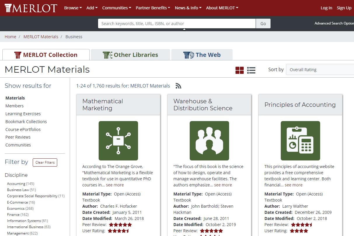 Free textbooks at MERLOT