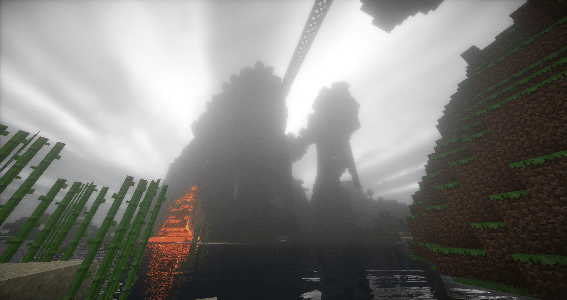 Minecraft viewed with a shader mod.