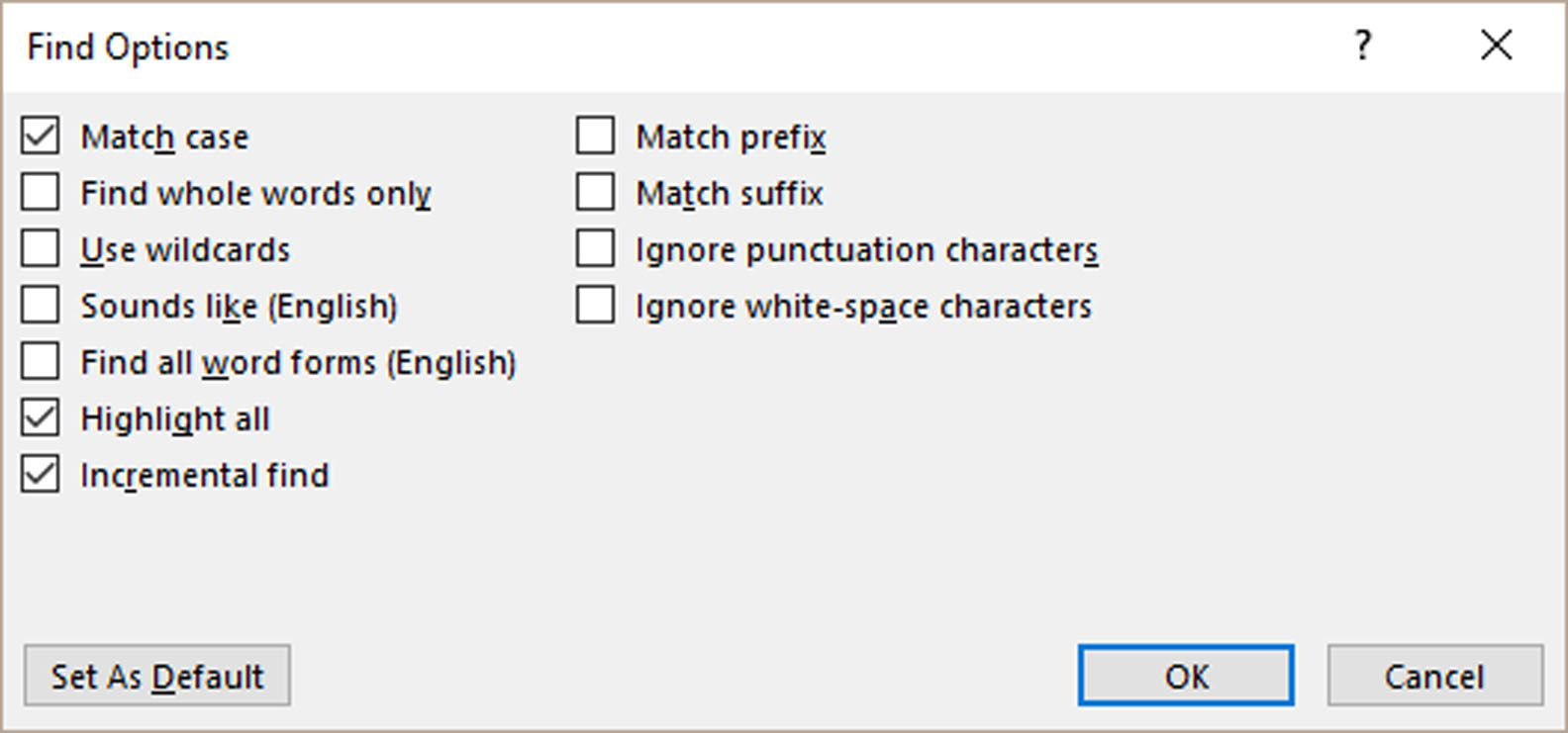 Microsoft Word Find Options interface