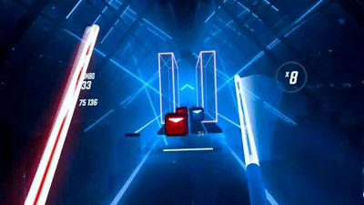 Playing Beat Saber on Oculus Quest.