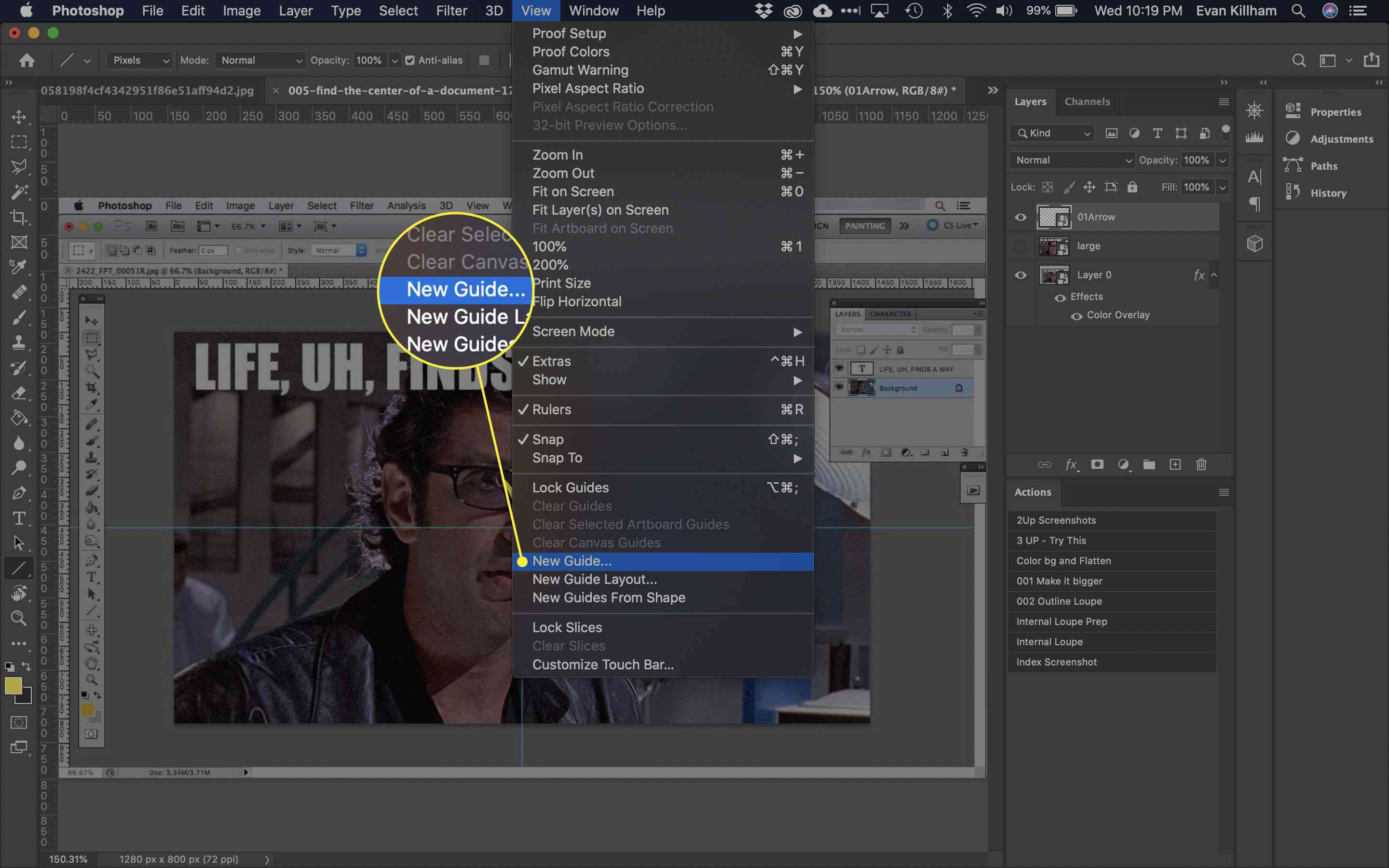 A screenshot of Photoshop with the New Guide menu item highlighted