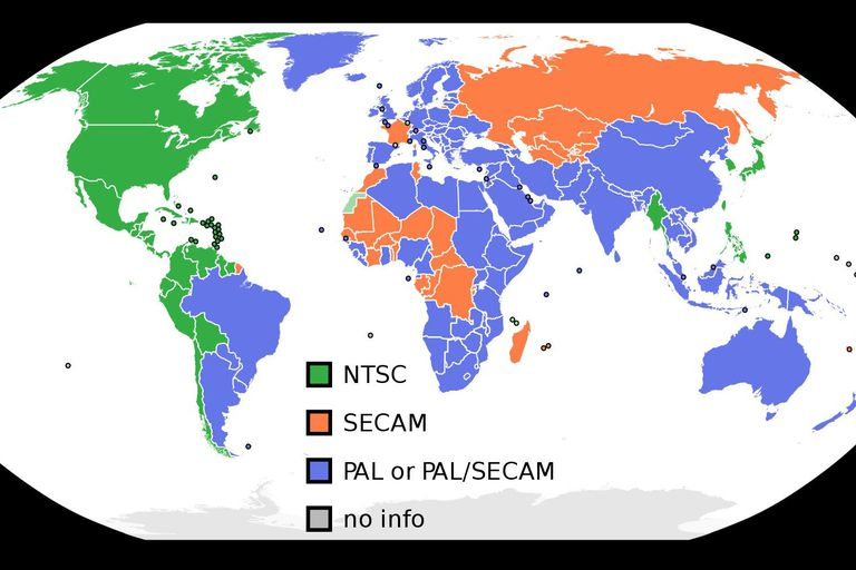 NTSC PAL SECAM map