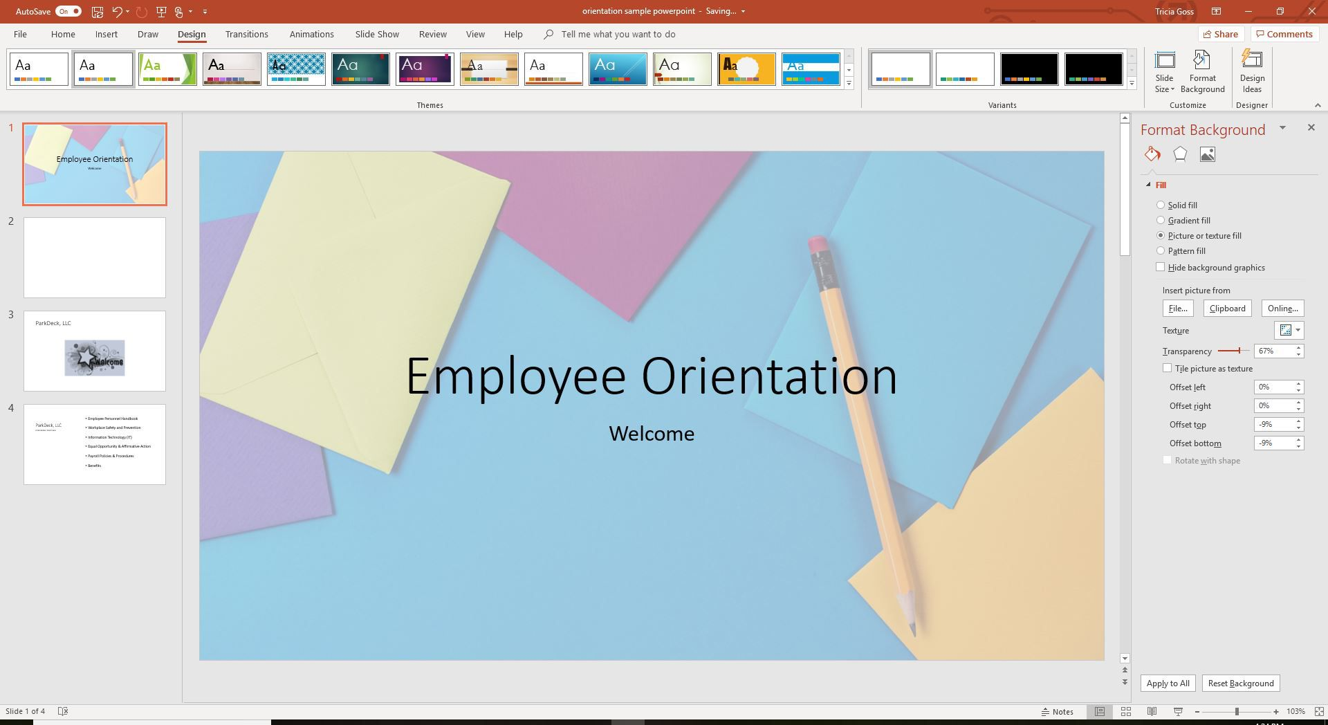 A screenshot showing the Set transparency option for background image in PowerPoint.
