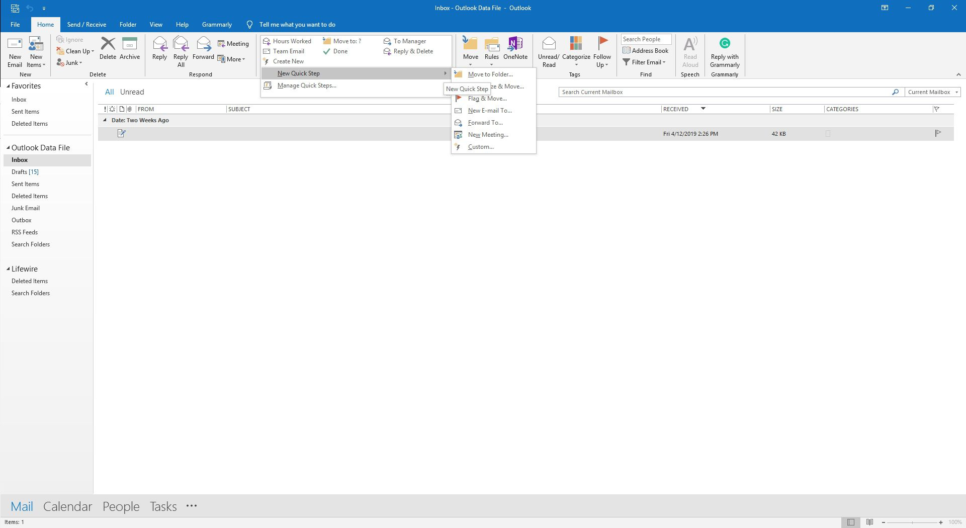 The Quick Steps group in Outlook.