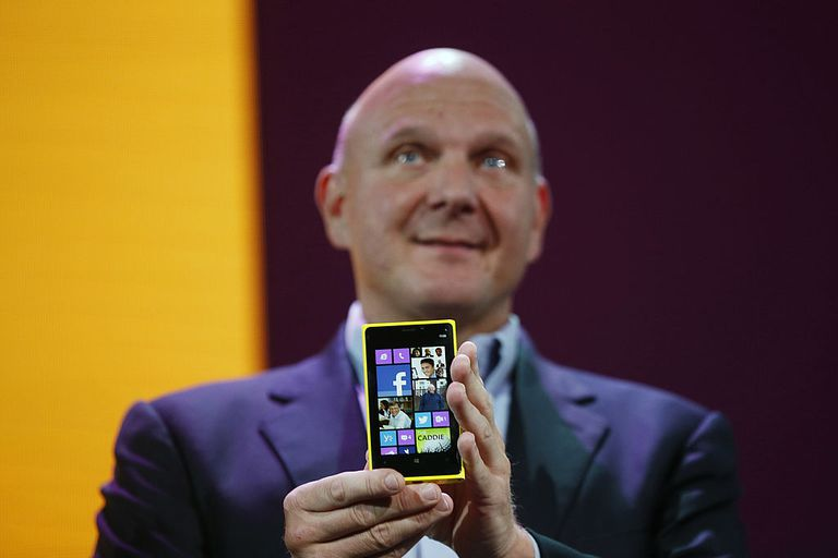 Windows Phone 8 held by Steve Ballmer
