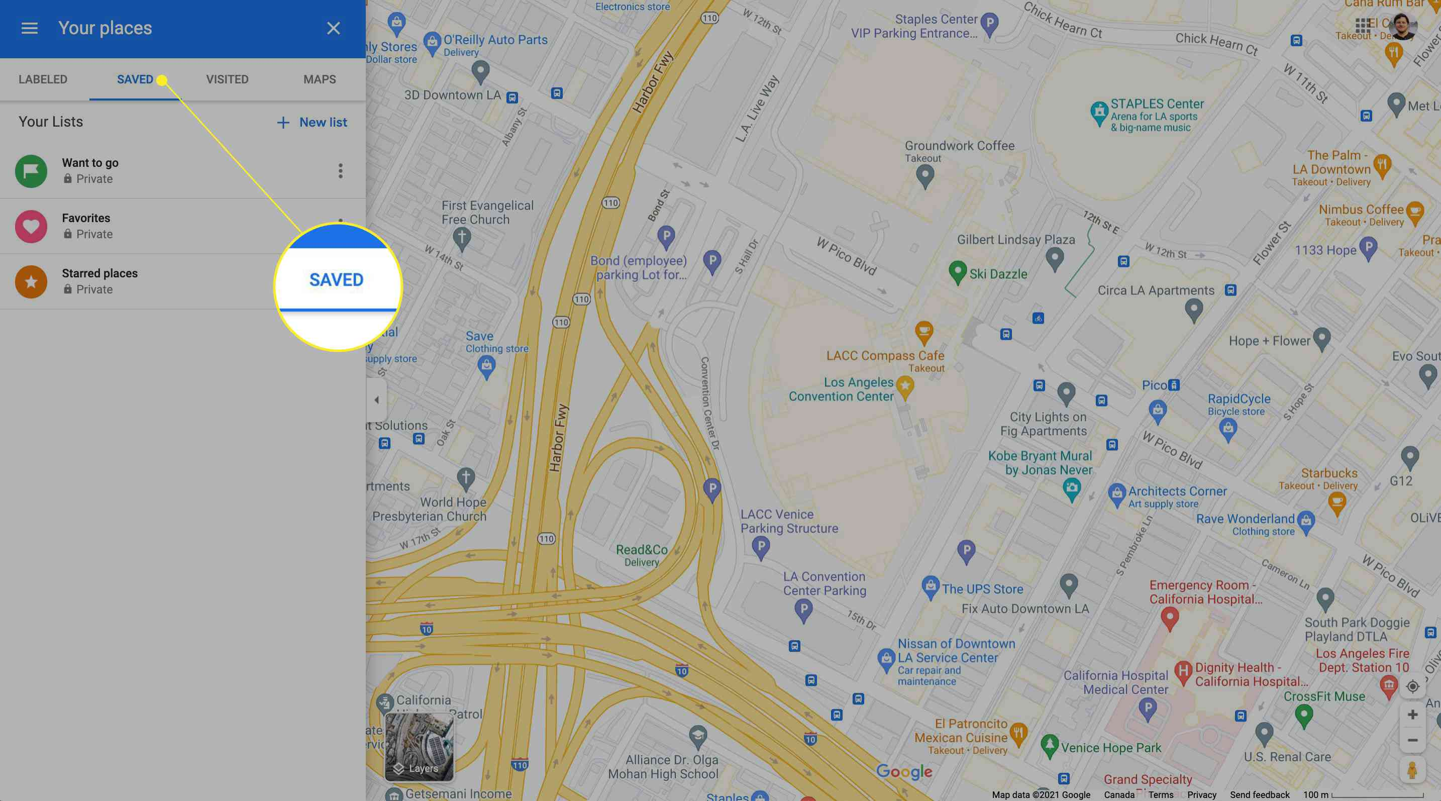 Accessing saved locations on Google Maps for desktop with Saved highlighted