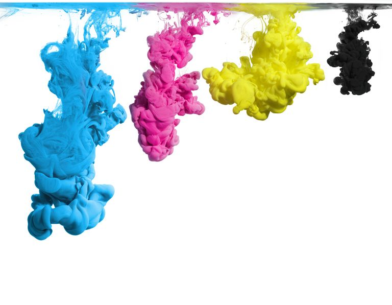 Printer Ink in CMYK, cyan, magenta, yellow, and black colors flowing