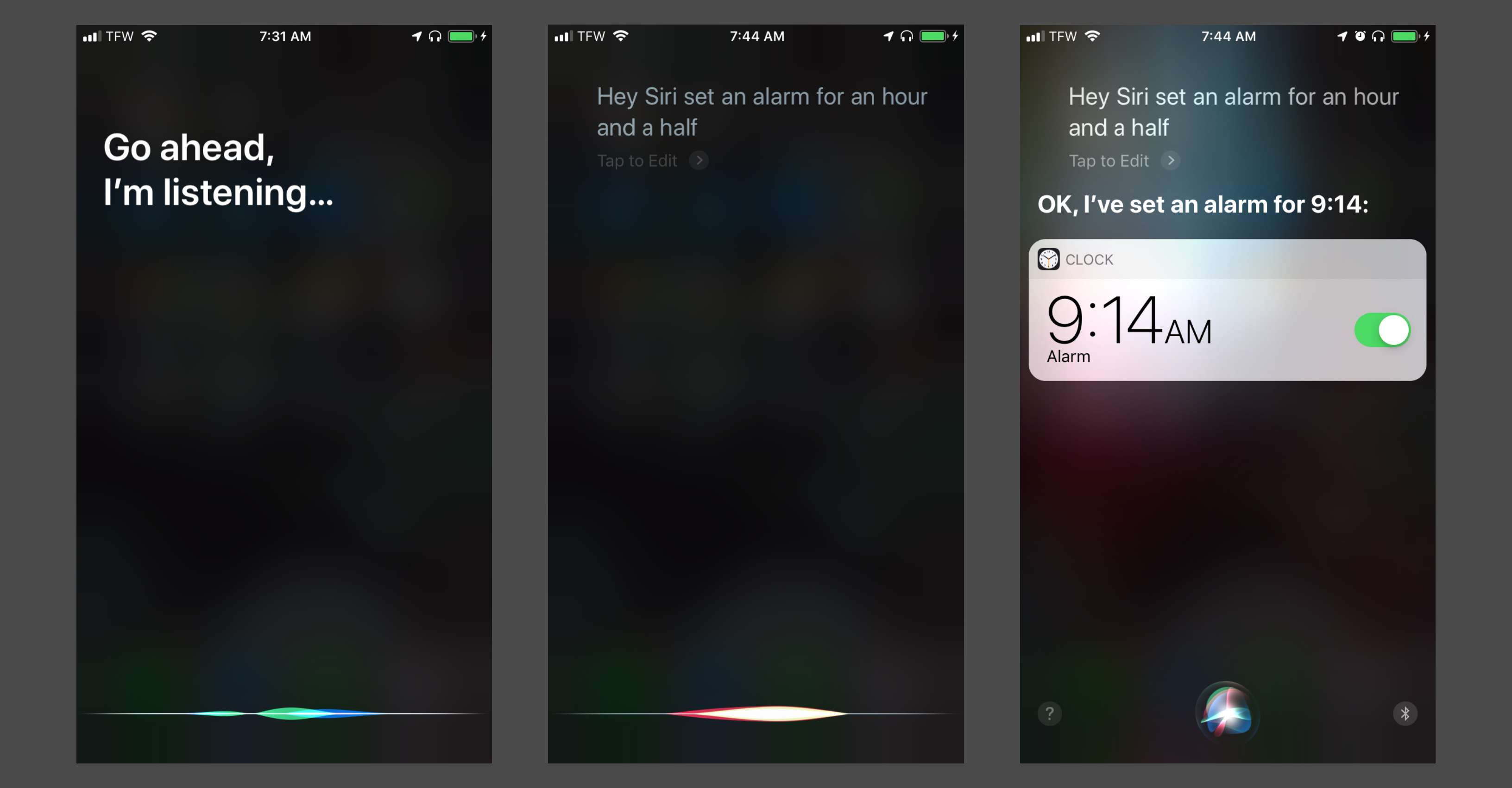 Using Siri and AirPods to set an alarm