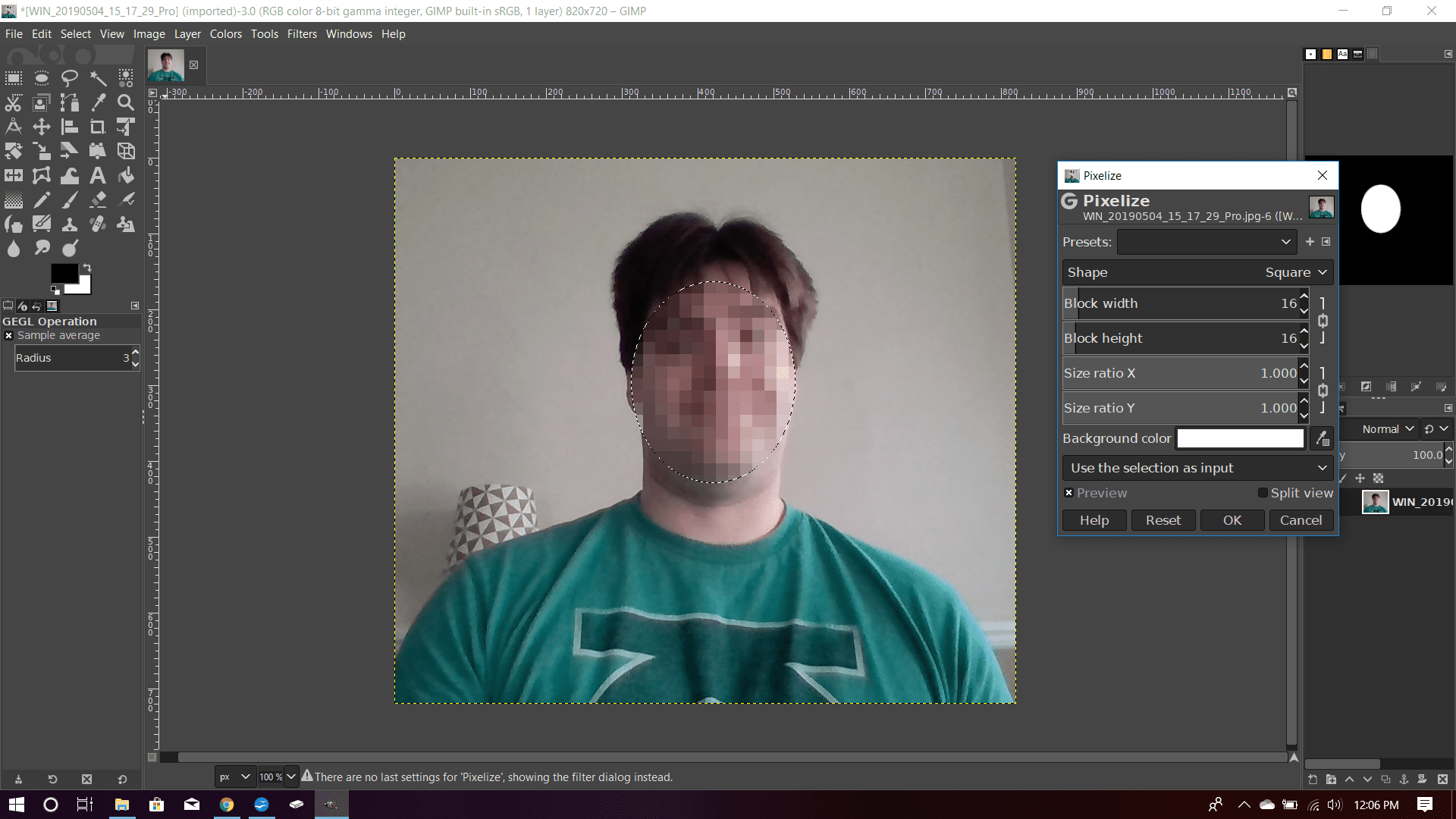 A face blurred out with the Oval Select tool