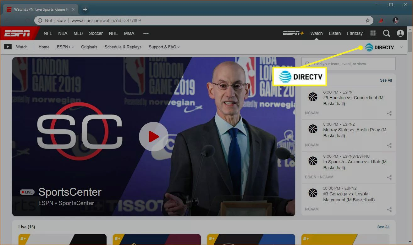 WatchESPN with the cable provider highlighted