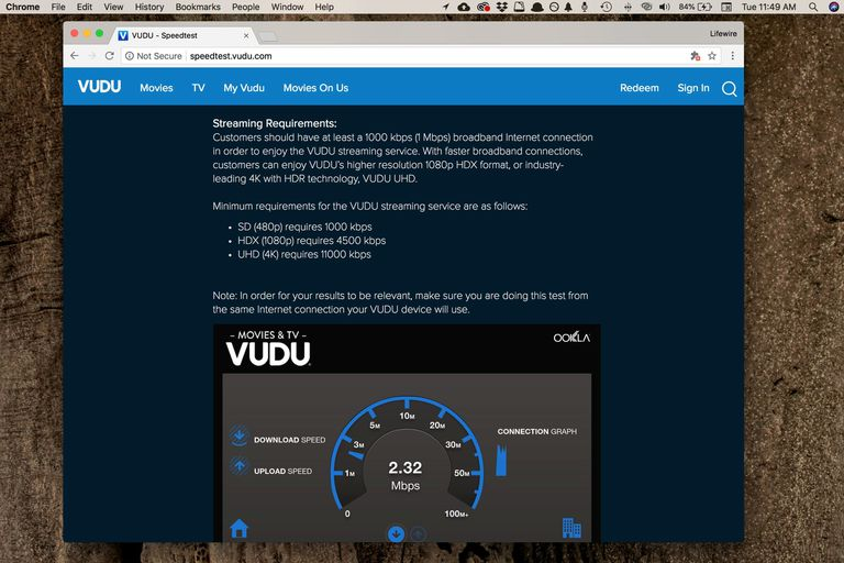 Screenshot of the Vudu download speed and upload speed test