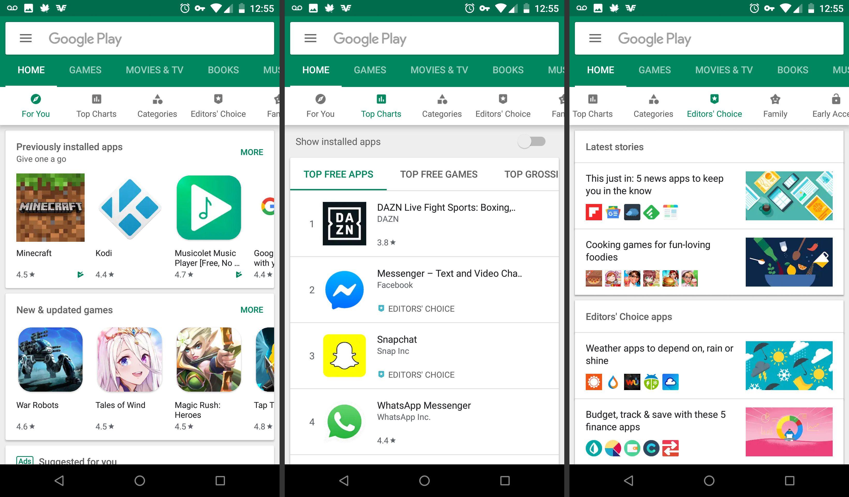 Google Play Store home screen
