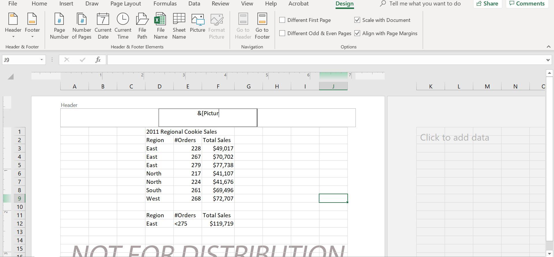 Excel header.