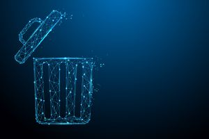 An illustration of a trashcan formed with lines of light.