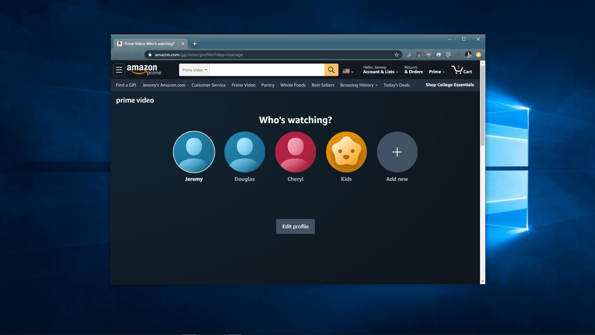 A screenshot of Prime Video profiles.
