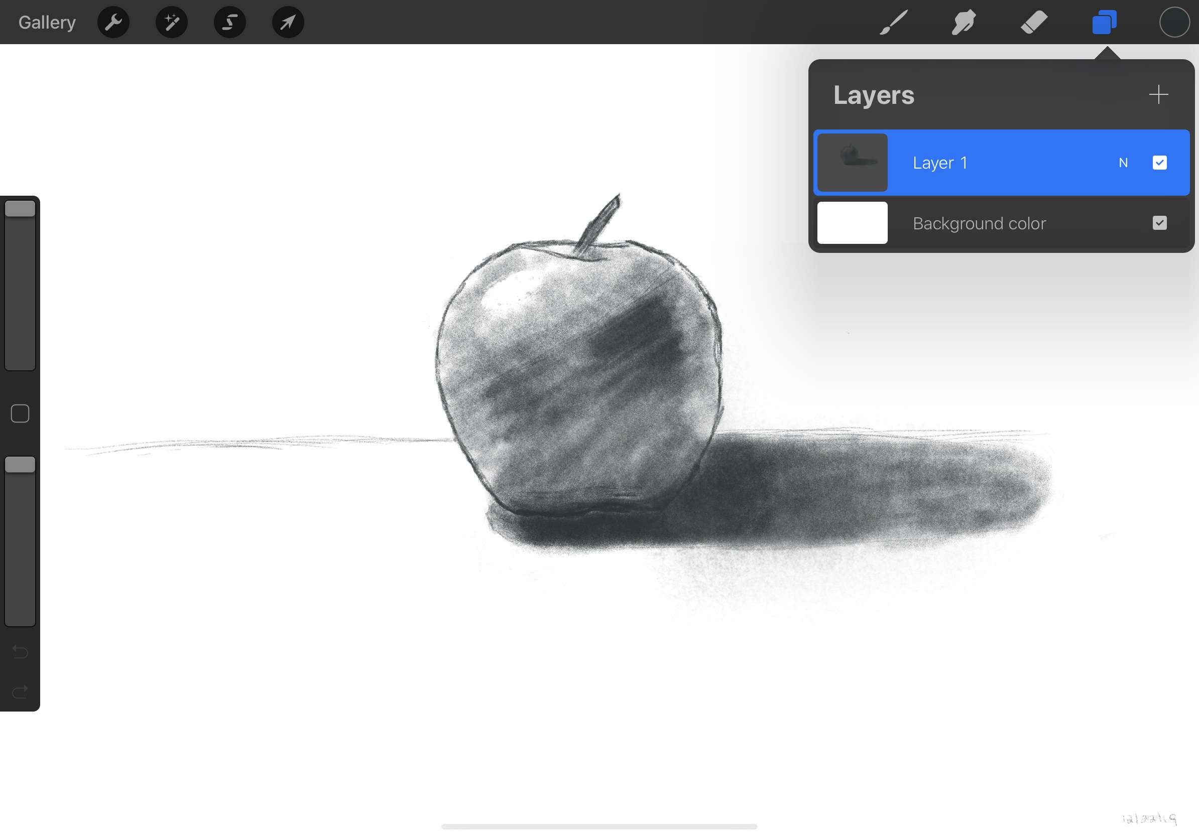 A sketch of an apple in Procreate. The layers menu is open.