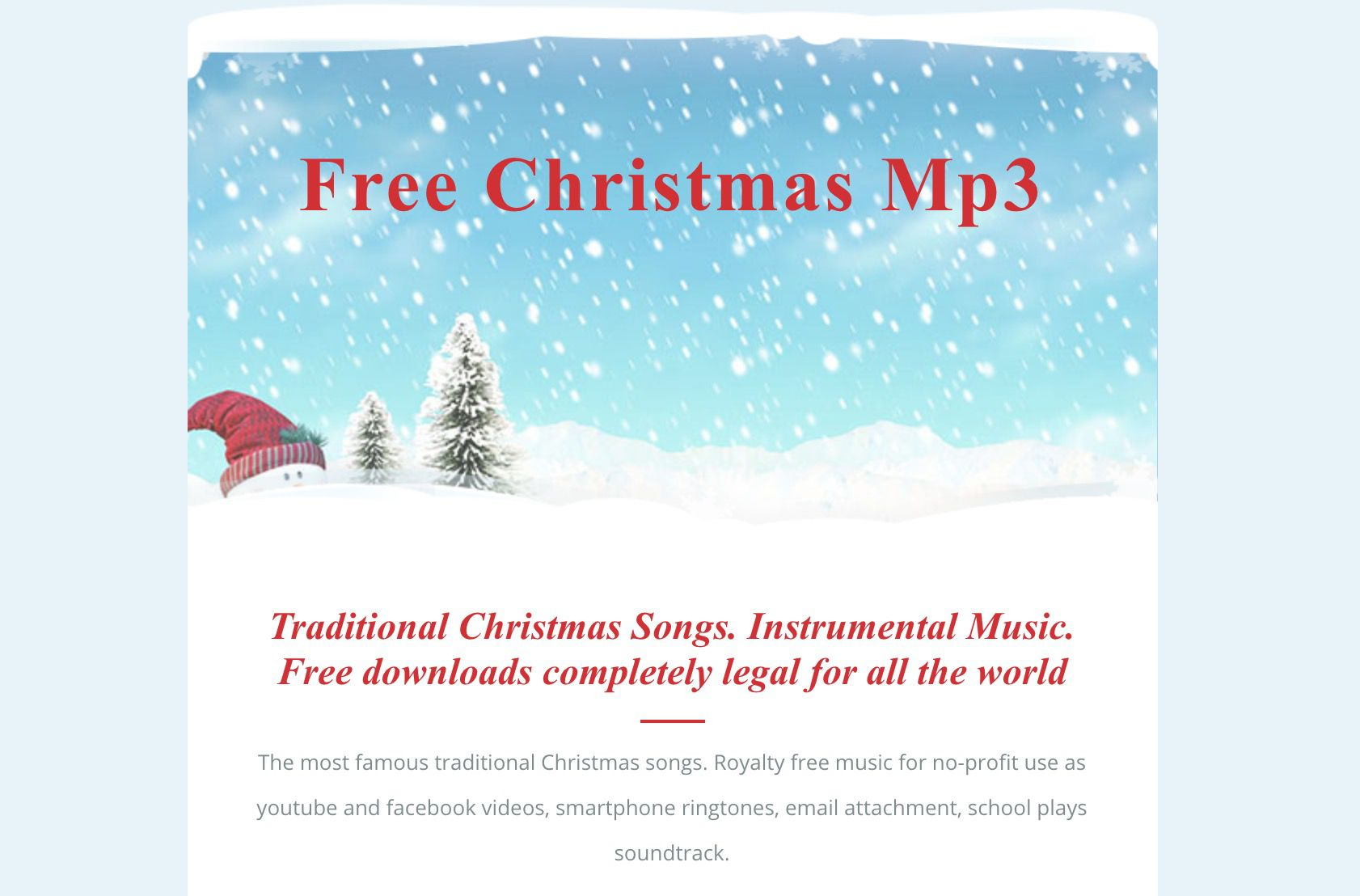 Download or Stream Free Holiday and Christmas Music This Season