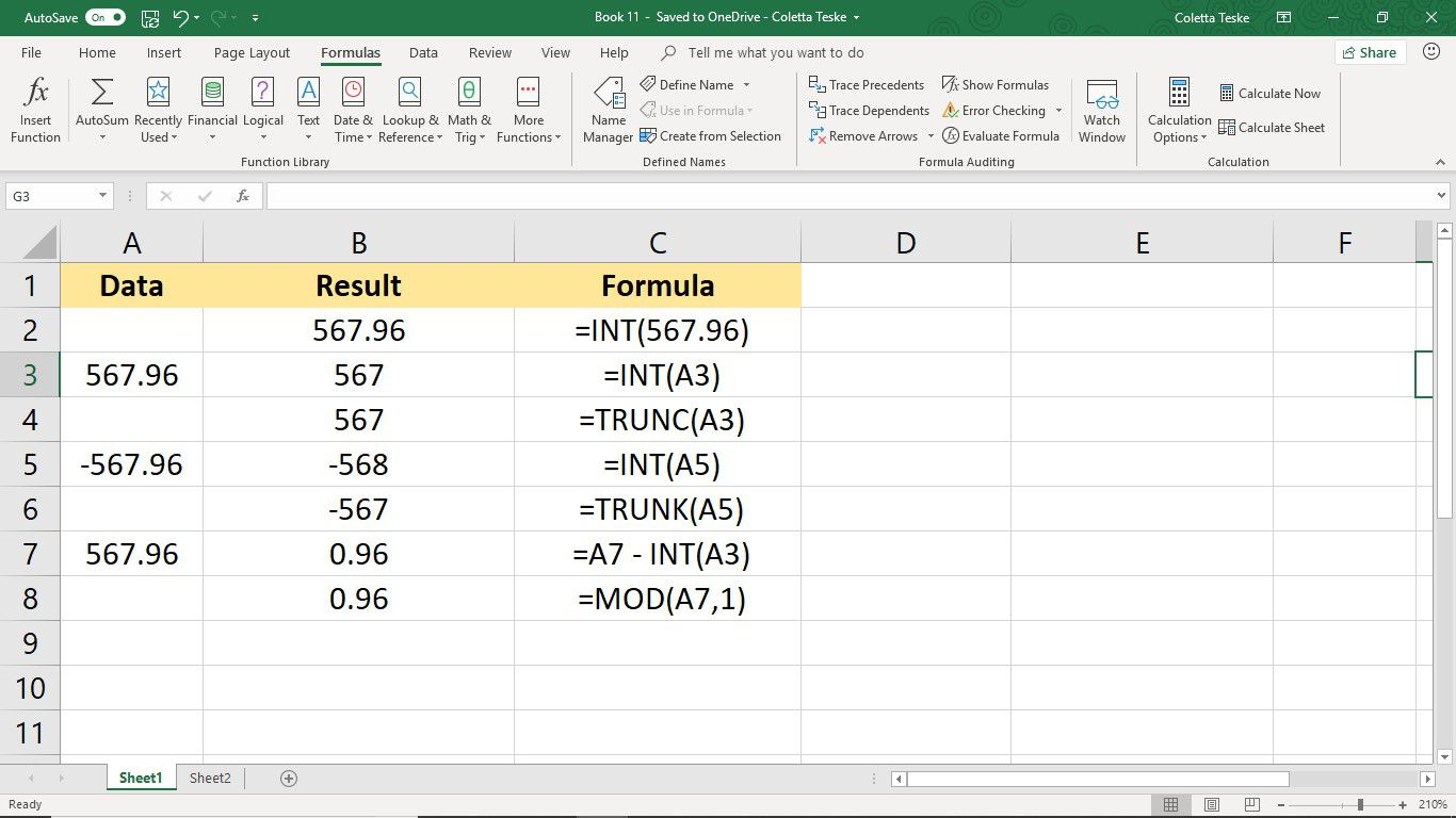 Screenshot of Excel showing INT, TRUNC, and MOD Functions