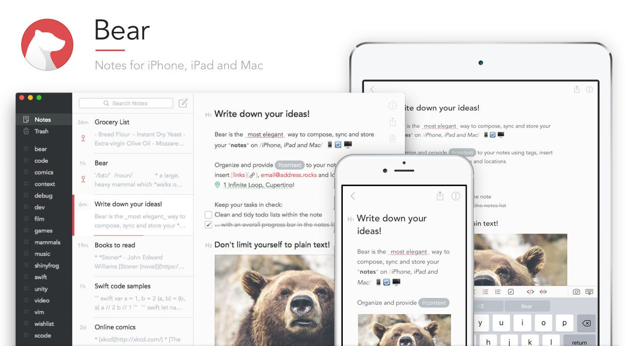 Bear Notes app on iPad, iPhone, and computer screen