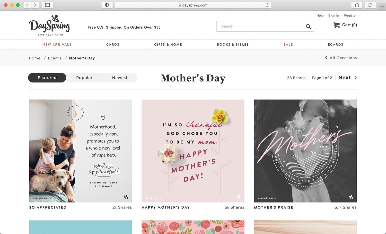 DaySpring spiritual e-card website