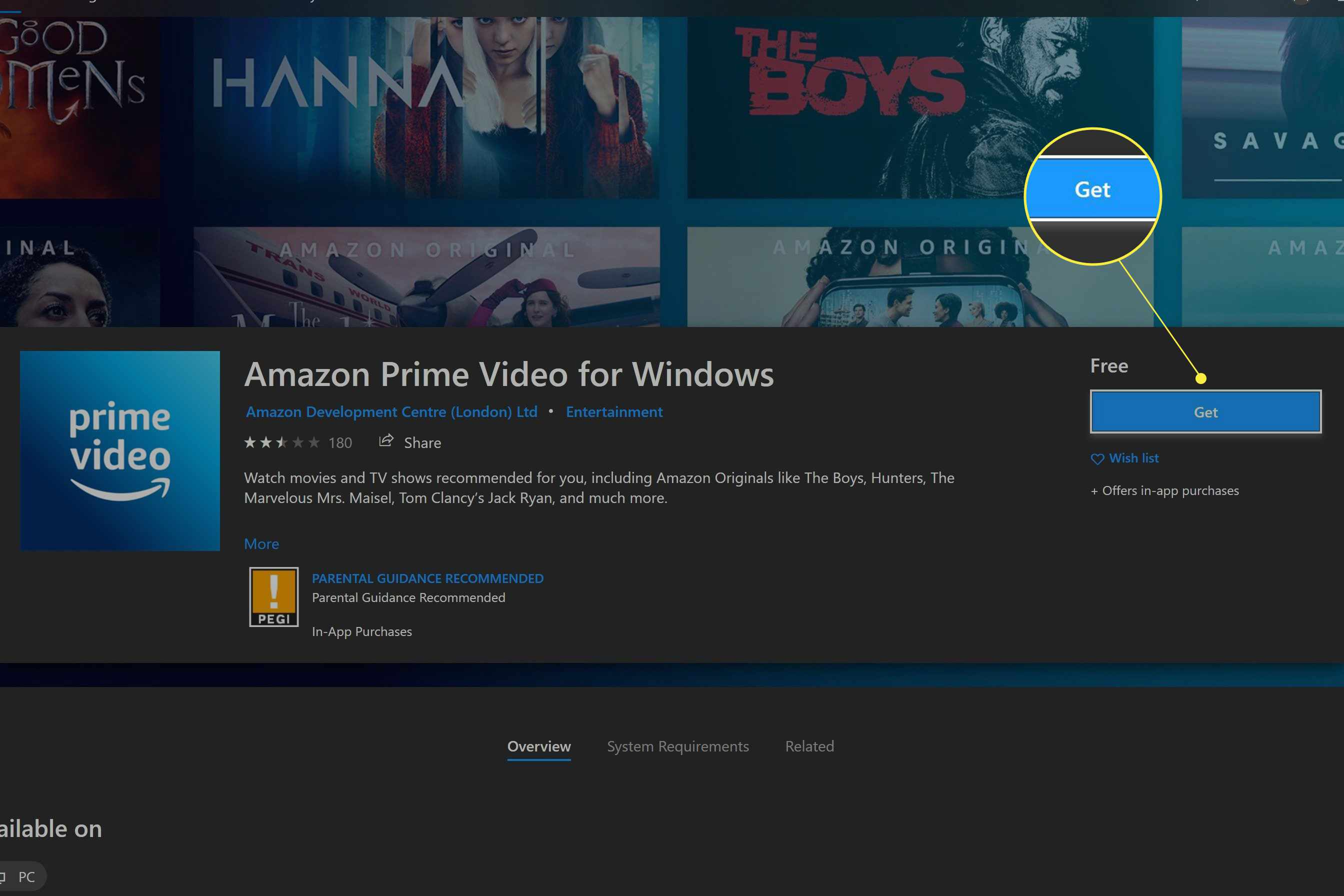 Windows Store with Prime Video App available and Get highlighted