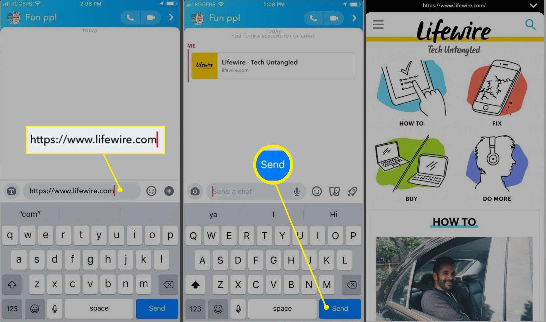 Three screenshots of the Snapchat app for iOS.