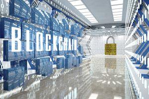 Digital room with padlock and word blockchain, 3d illustration