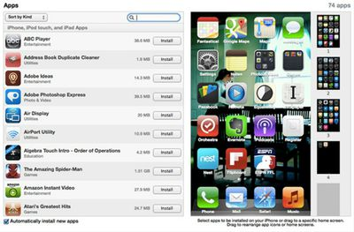 Screenshot of apps