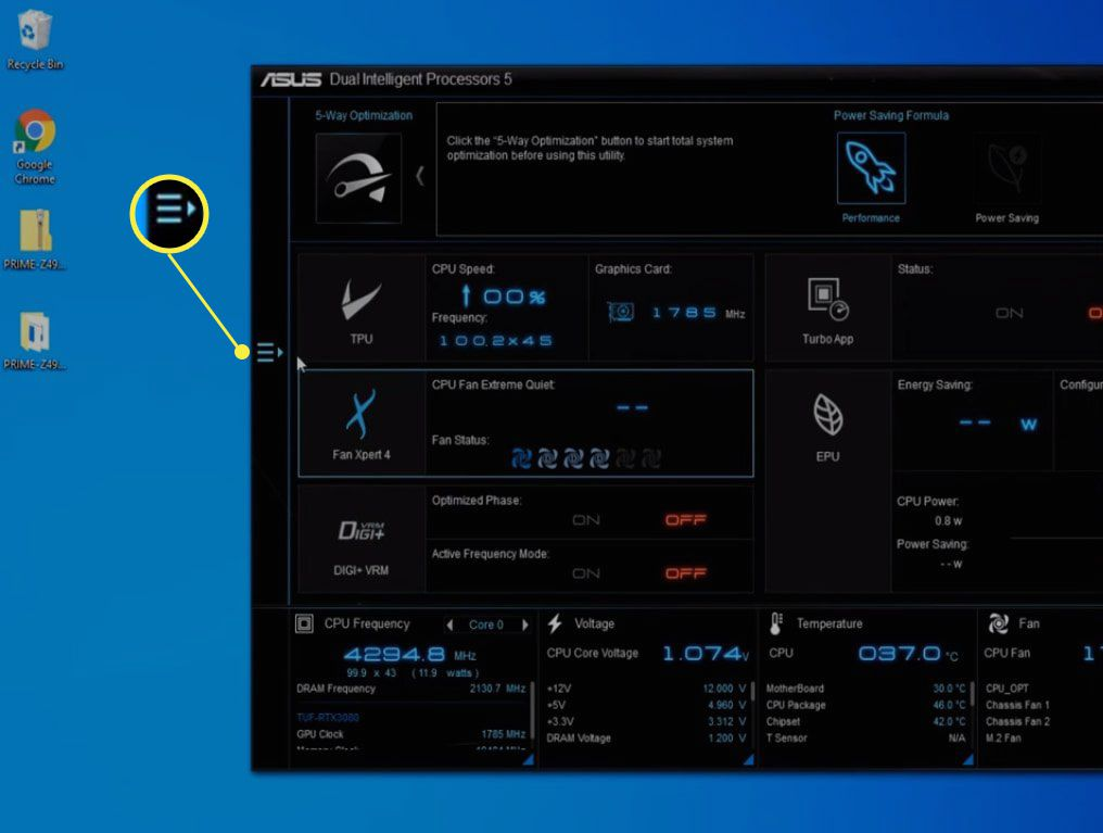 Asus AI Suite 3 withe Menu icon (the three horizontal lines) on the left side highlighted