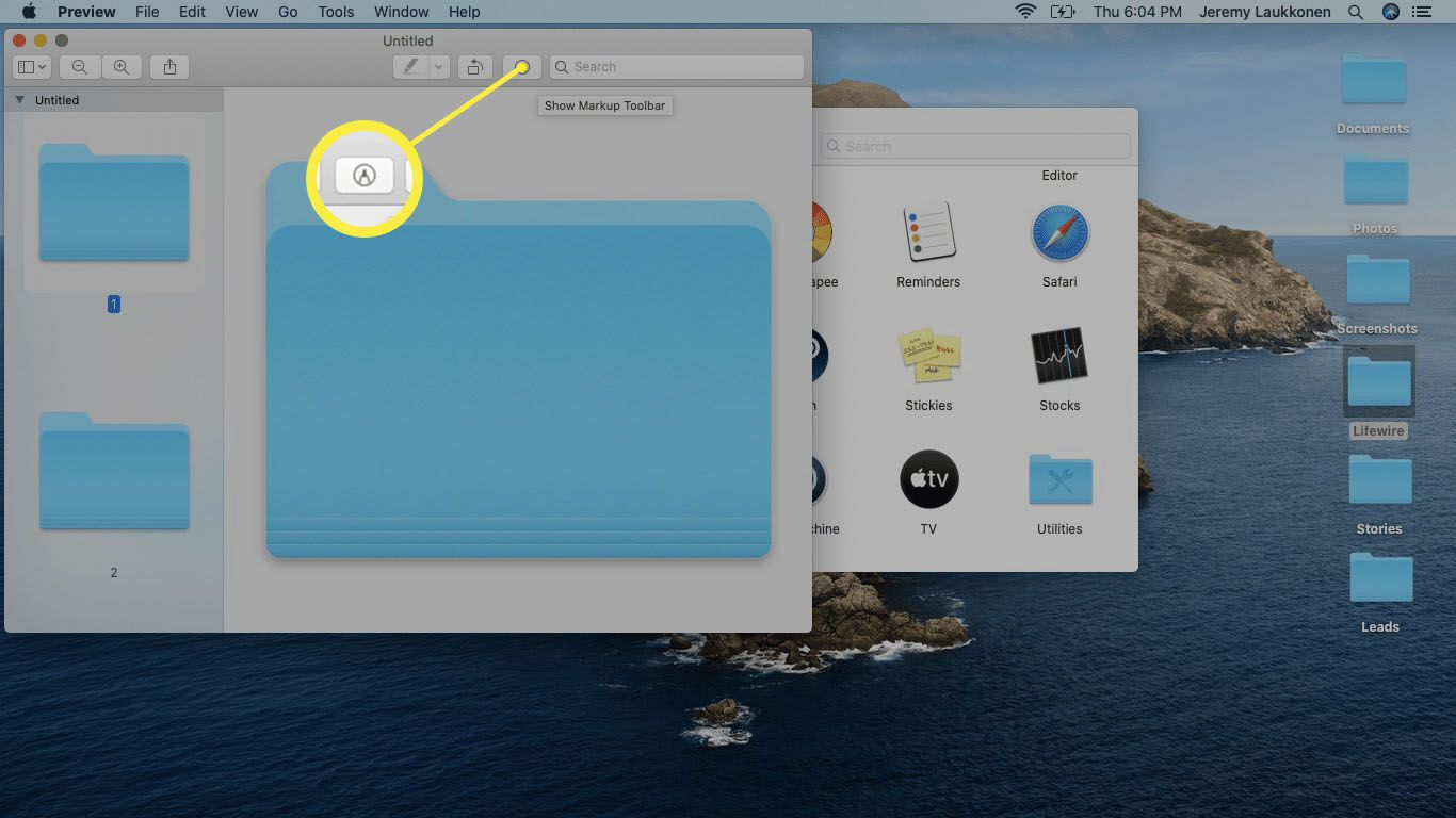 The Markup tool highlighted in the Preview app on macOS.