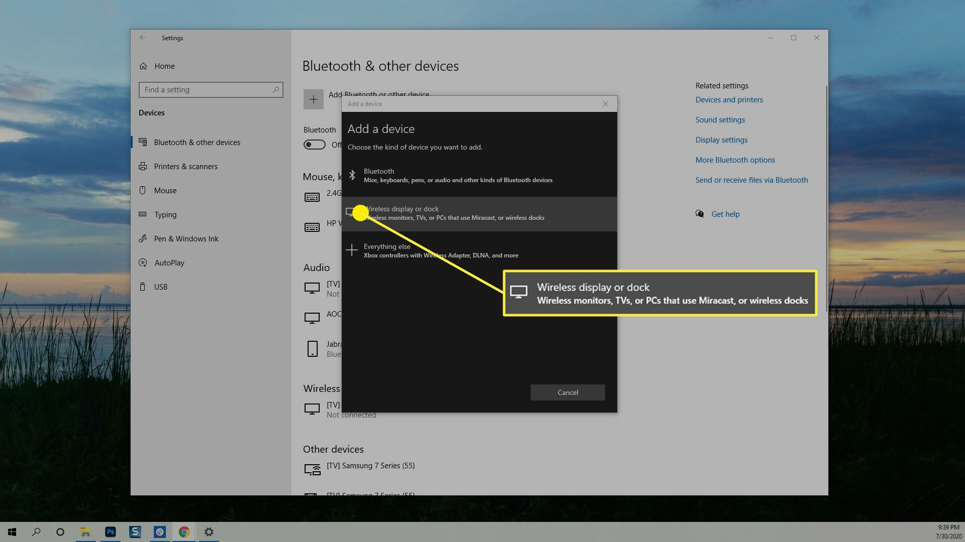 The Wireless display or dock option in Windows 10.