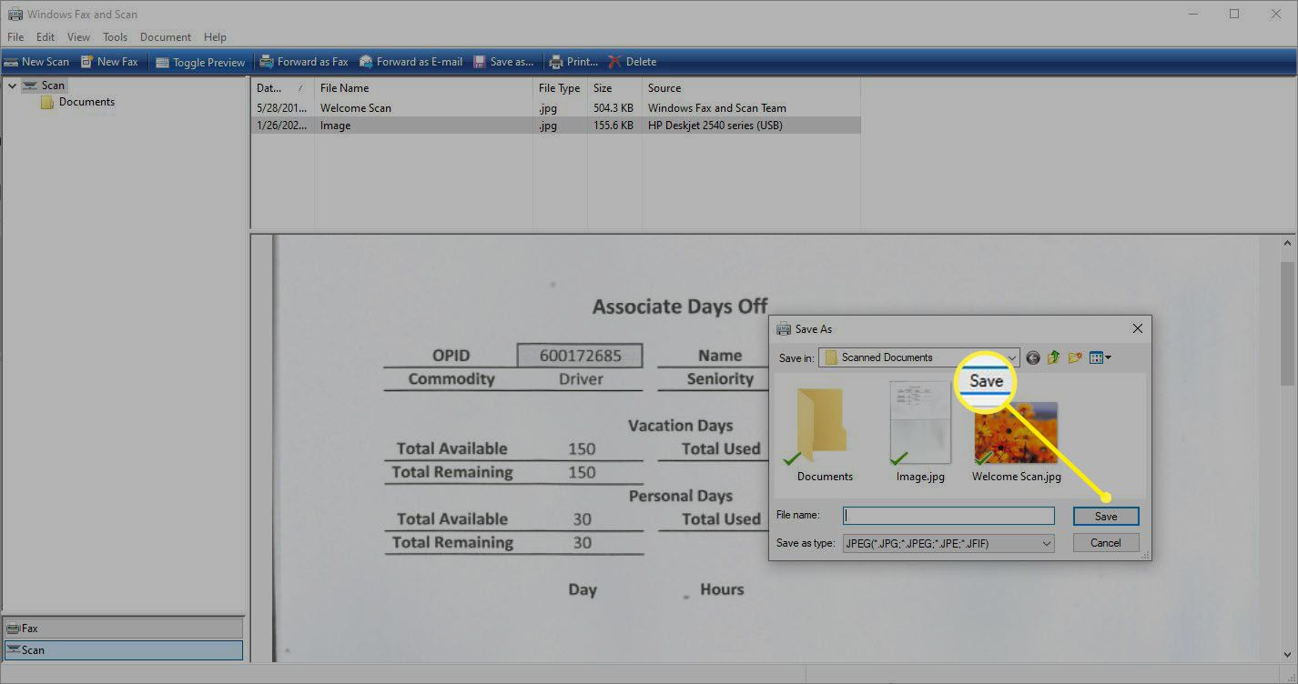 Screenshot of Save As in Windows Fax and Scan