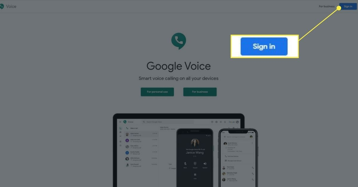 Google Voice web browser sign in