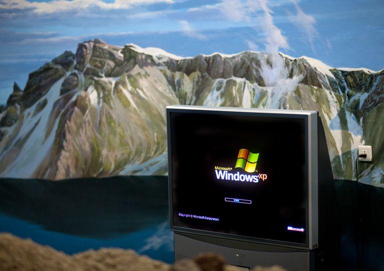 Windows computer in front of mountain decor of mount Paektu, Ryanggang Province, Samjiyon, North Korea...