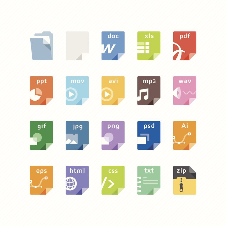 Vector illustration of file icons, for the most common file types.