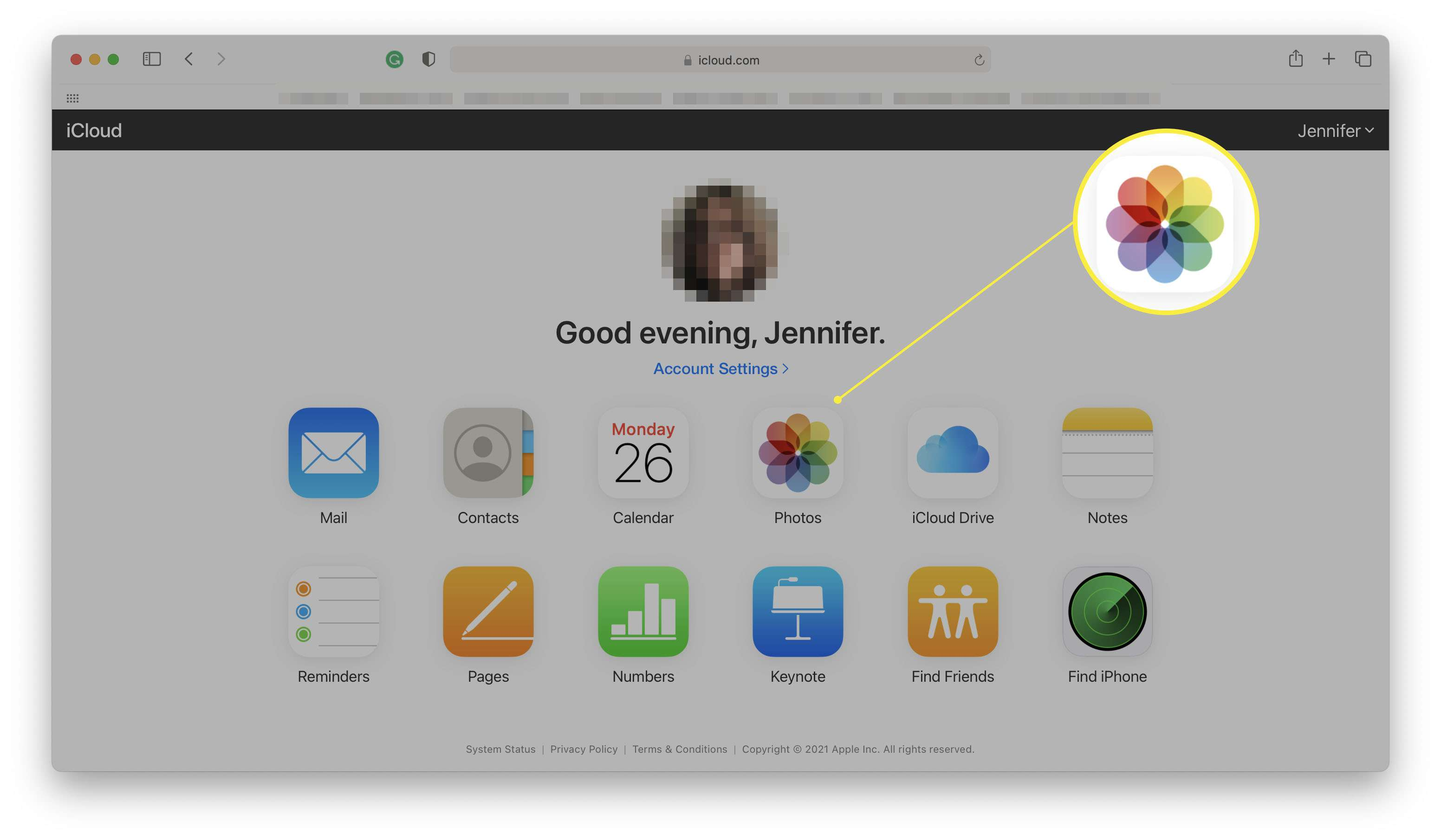 iCloud.com with Photos icon highlighted