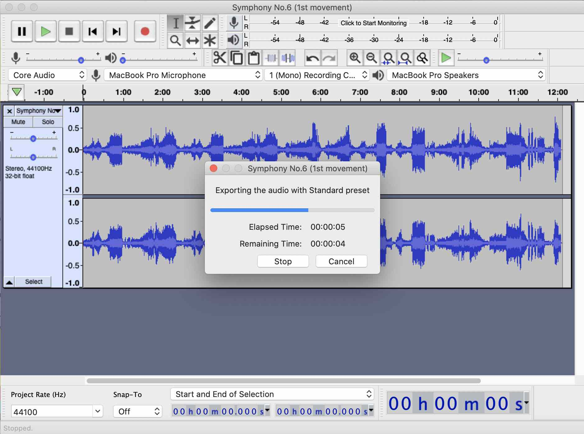 Audacity app showing the export to MP3 process time bar