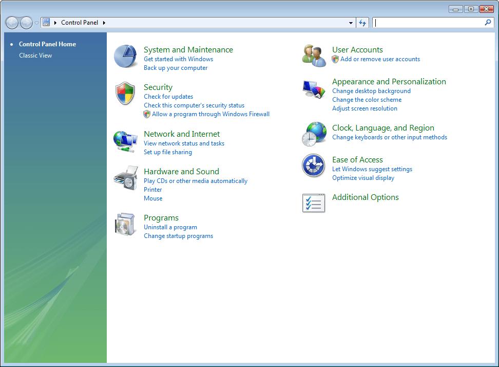 Control Panel items in Windows Vista