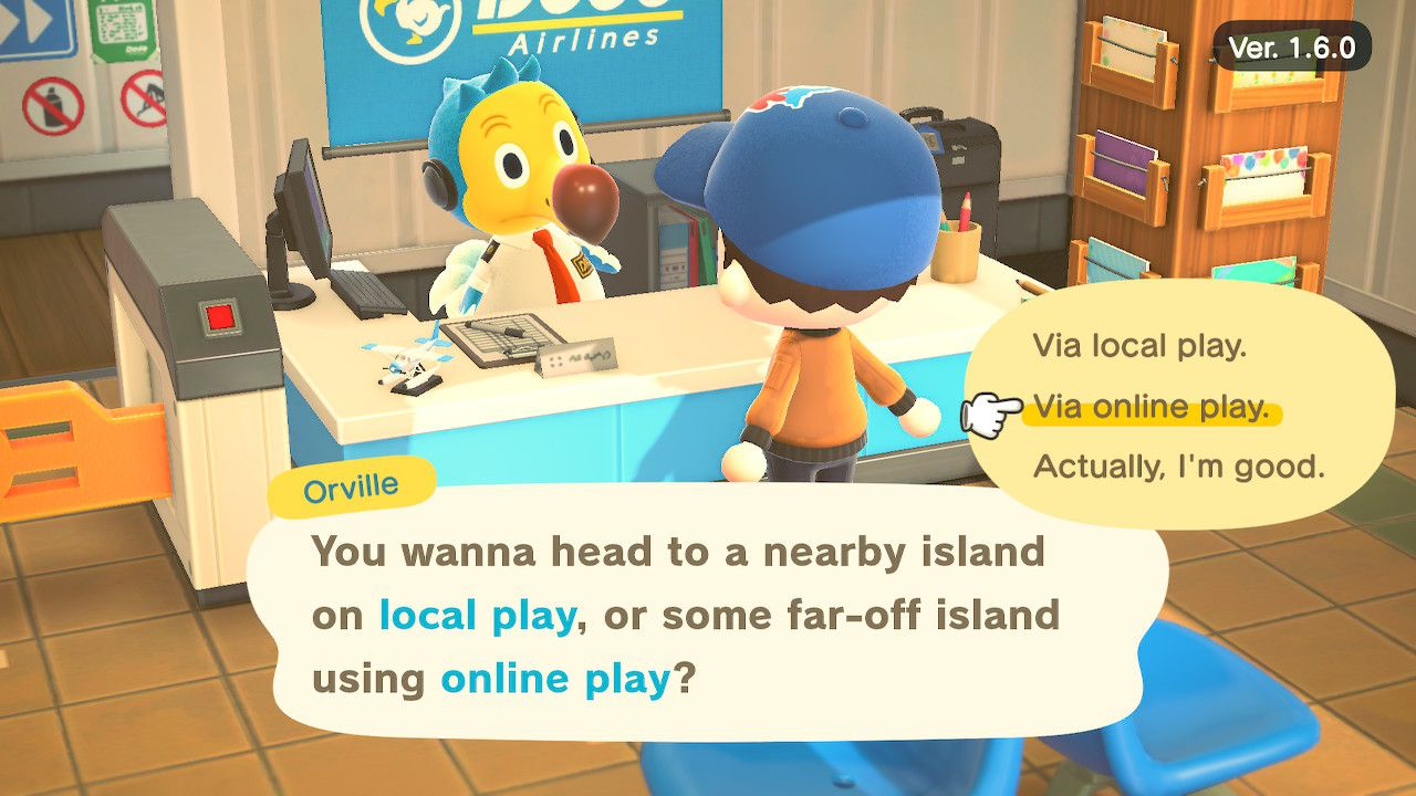 Entering online play in Animal Crossing: New Horizons