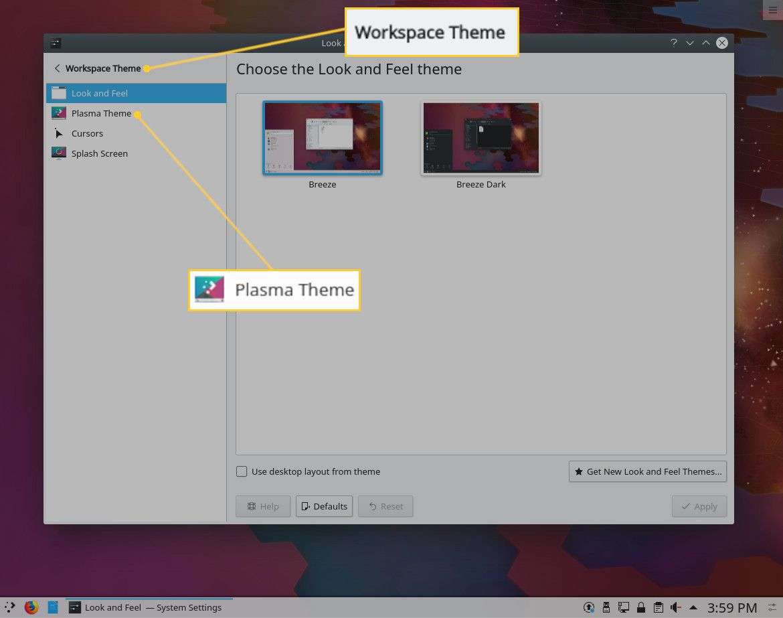 Screenshot of the KDE Workspace Theme window.